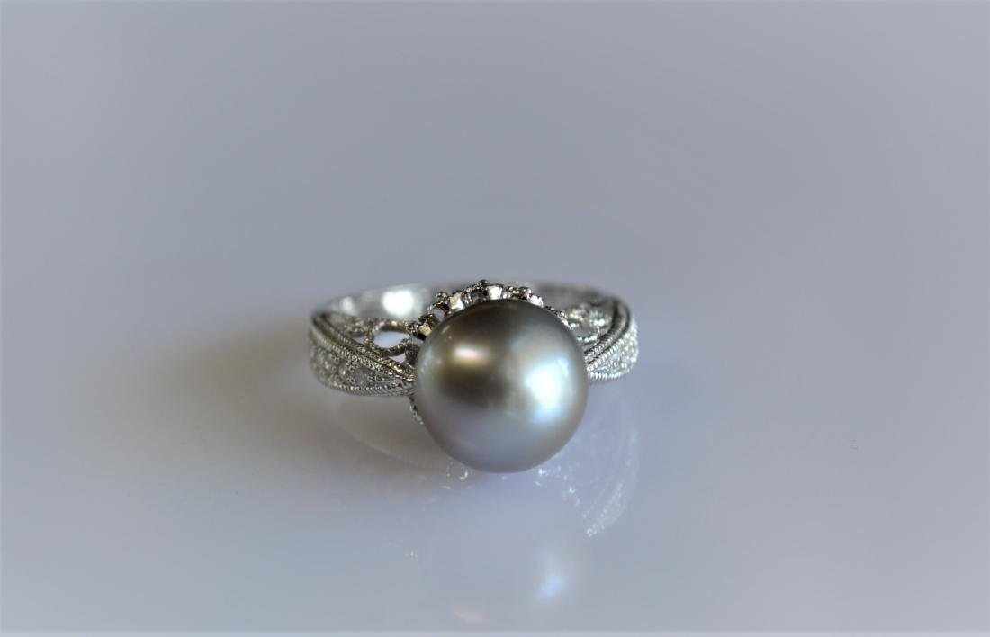 Pearl and Diamond Cocktail Ring 14k White Gold