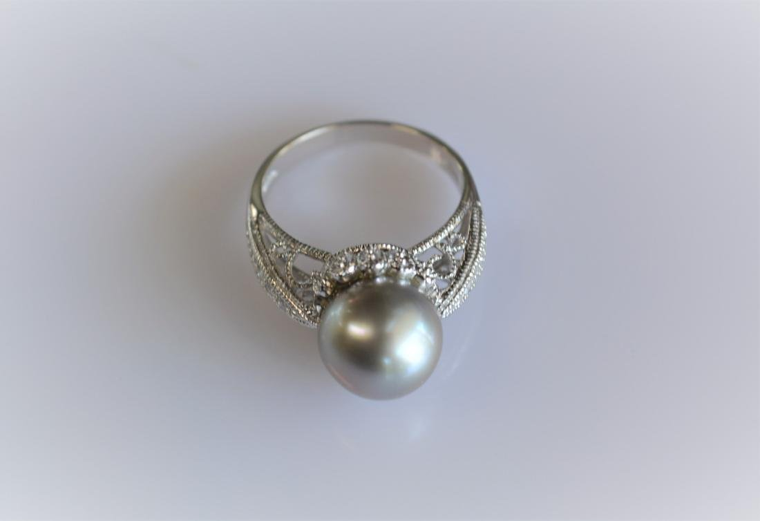 Pearl and Diamond Cocktail Ring 14k White Gold - 2