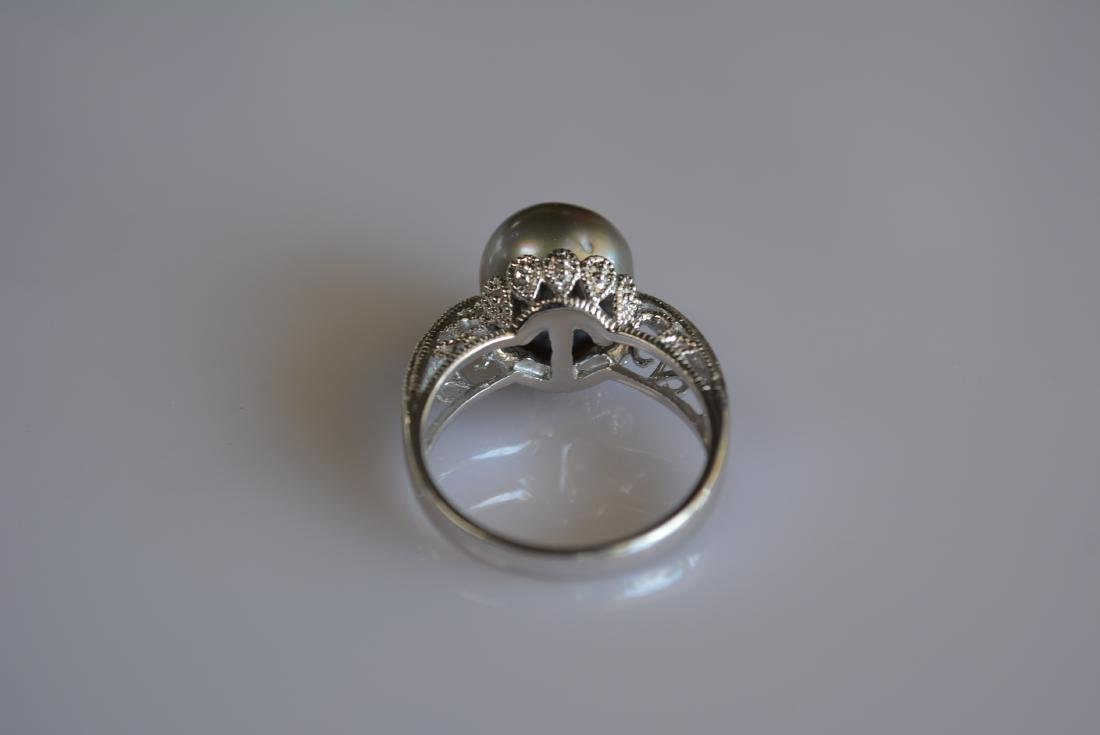 Pearl and Diamond Cocktail Ring 14k White Gold - 3