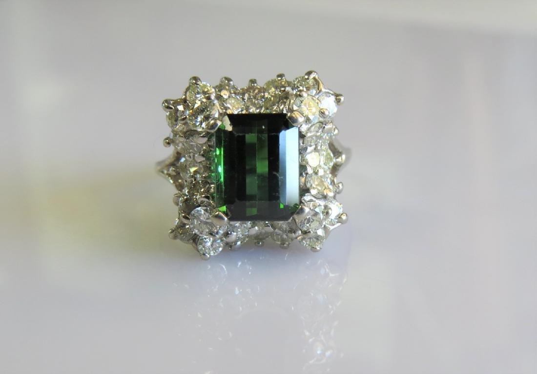 14k Vintage Green Tourmaline Cocktail Ring