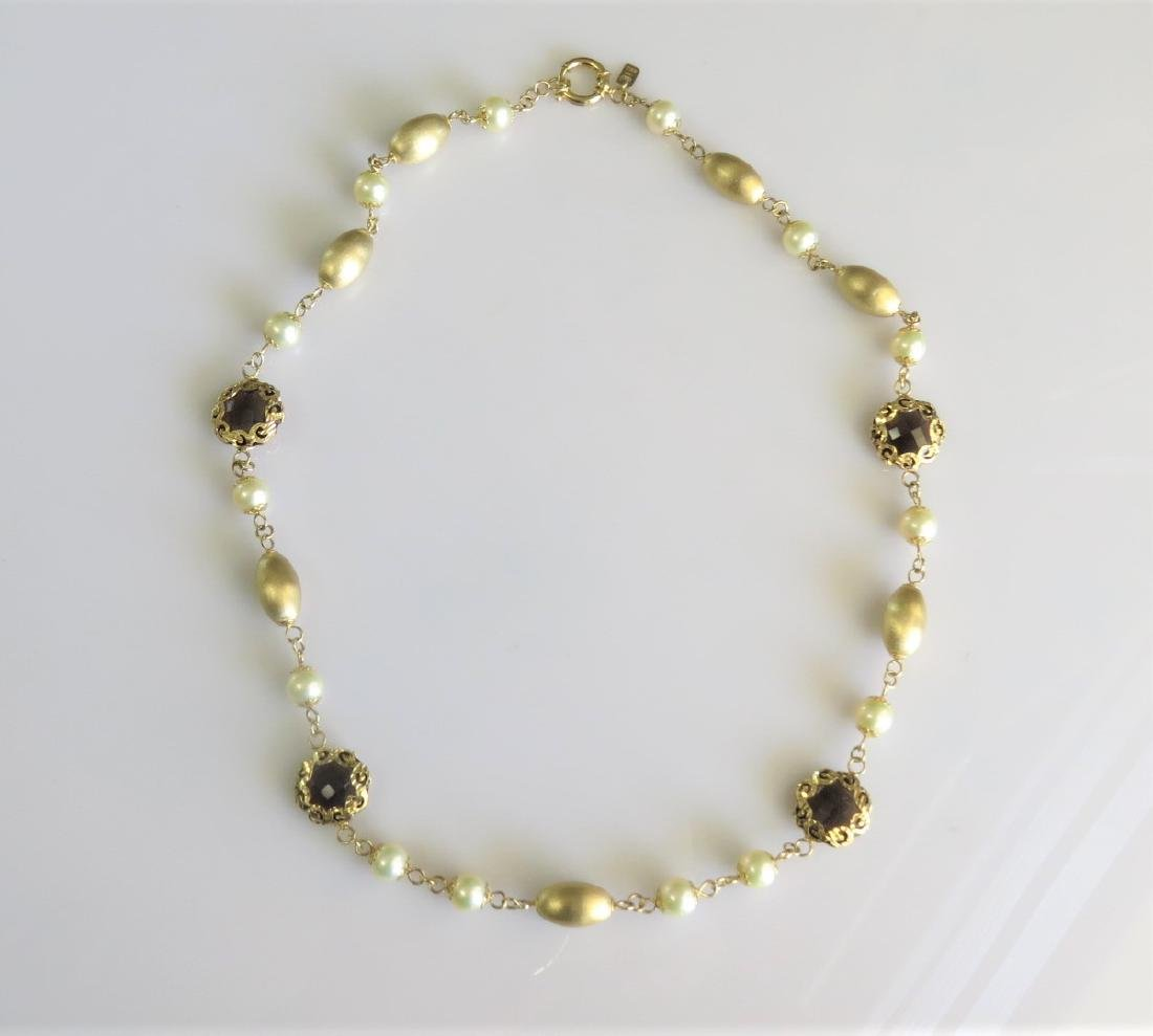 18k Yellow Gold Pearl and Smokey Quartz Necklace