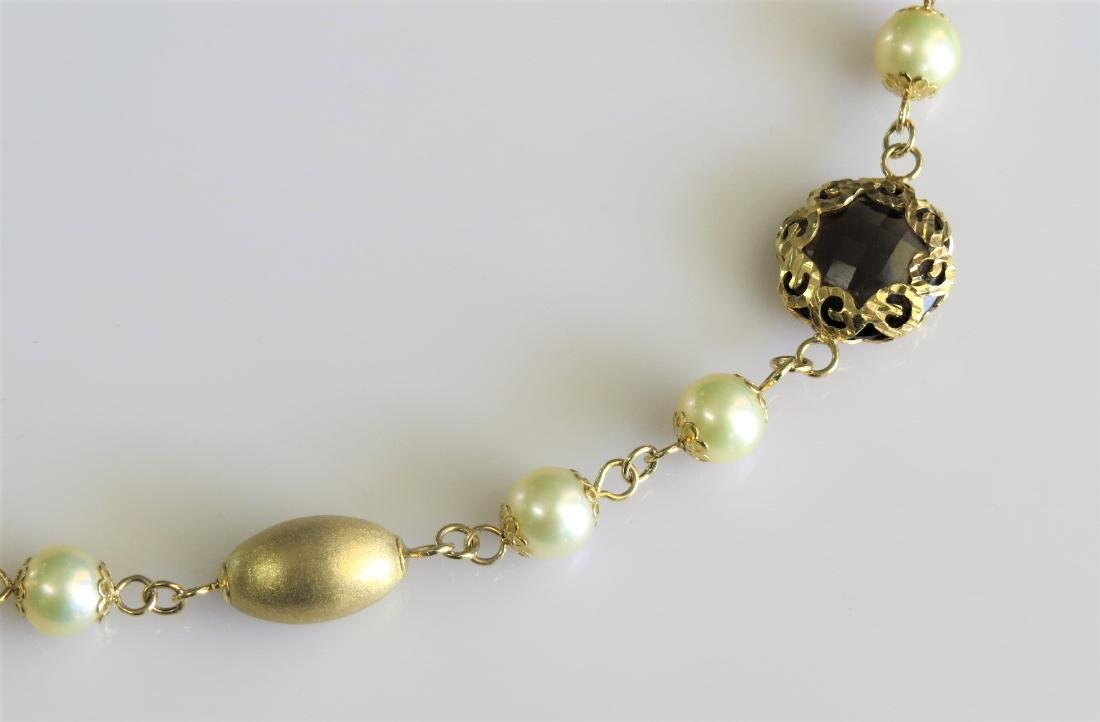 18k Yellow Gold Pearl and Smokey Quartz Necklace - 2