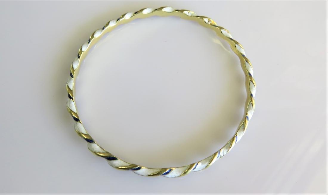 18KT Yellow Gold Antique Bangle Bracelet - 2