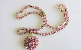 14KT Yellow Gold Pink Sapphire Cocktail Necklace