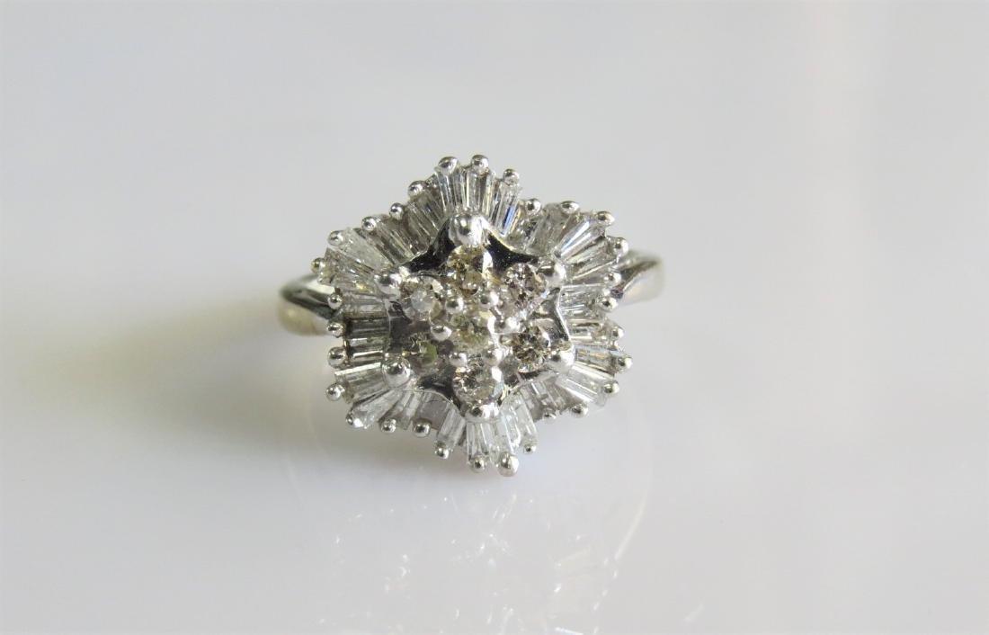 14K White Gold Diamond Cluster Cocktail Ring