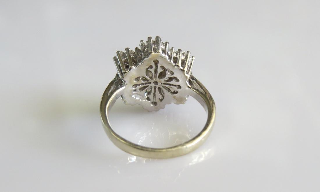 14K White Gold Diamond Cluster Cocktail Ring - 2