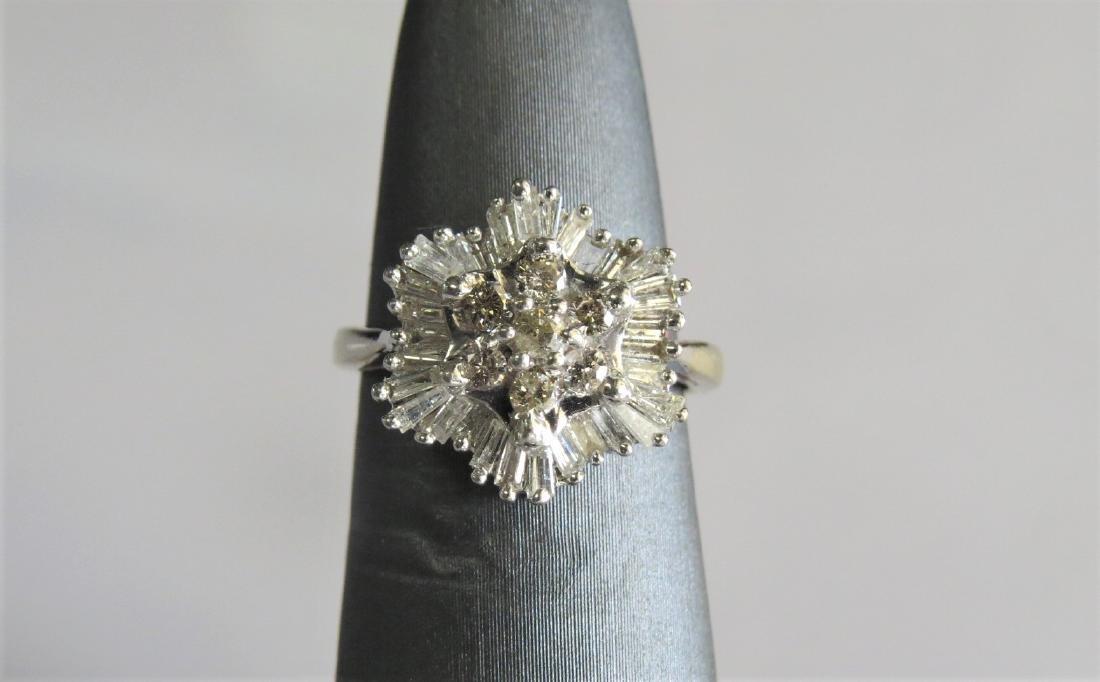 14K White Gold Diamond Cluster Cocktail Ring - 3