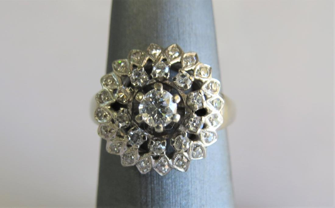 14K White Gold Diamond Cocktail Ring - 2