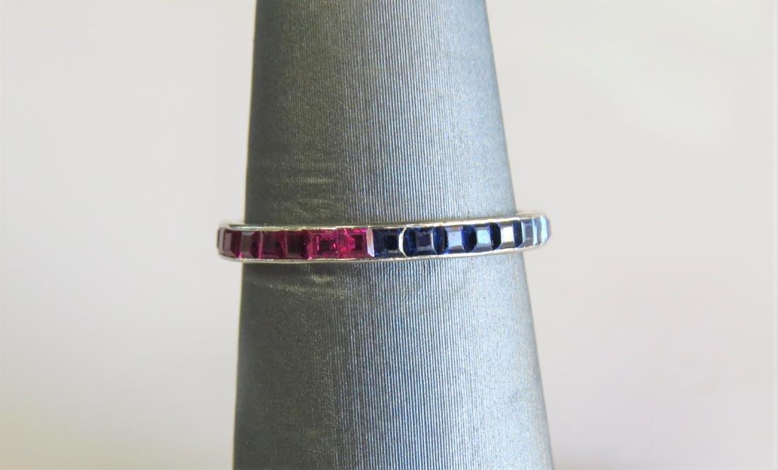 Platinum Sapphire and Ruby Fashion Ring