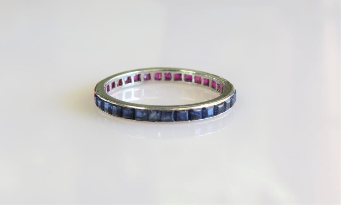 Platinum Sapphire and Ruby Fashion Ring - 2