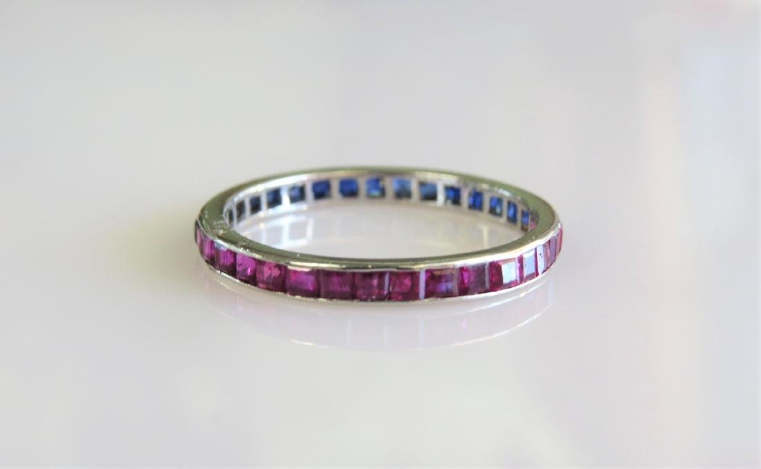 Platinum Sapphire and Ruby Fashion Ring - 3