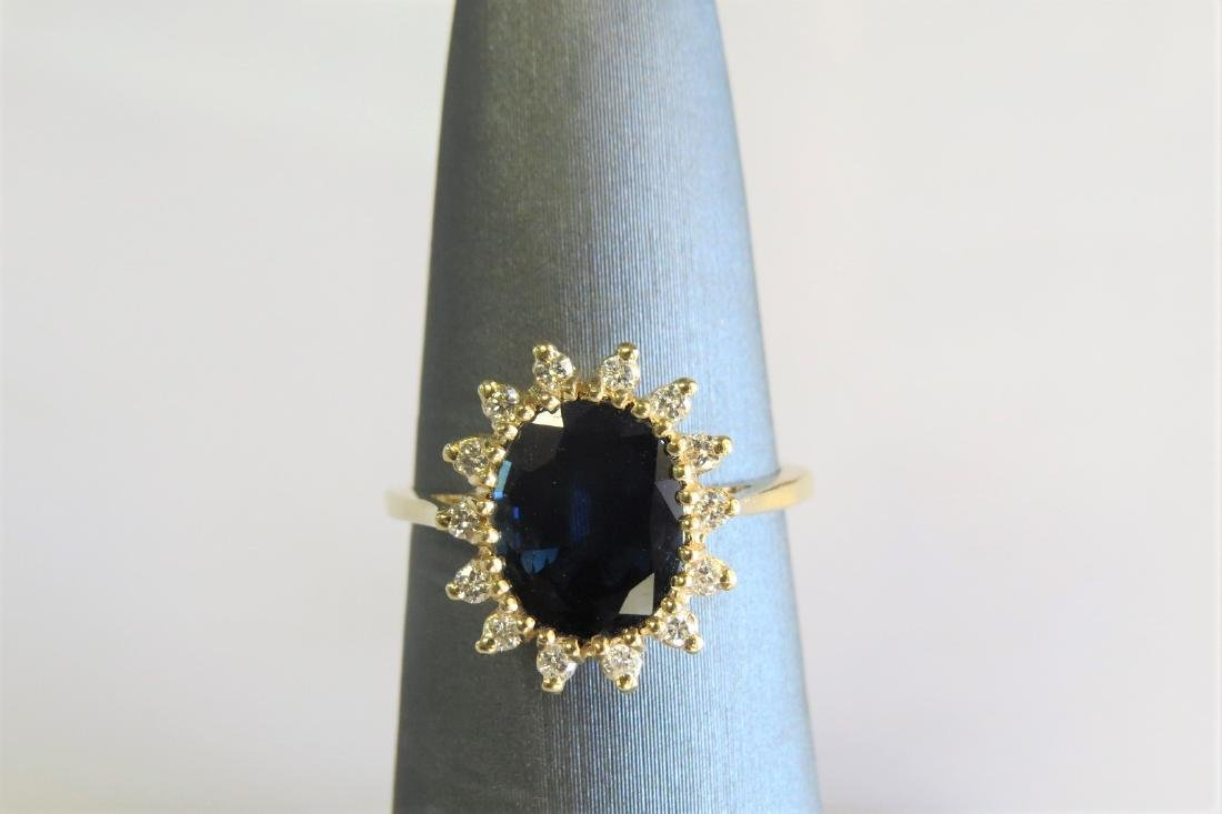 14K Yellow Gold Diamond and Sapphire Cocktail Ring - 3