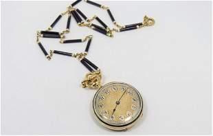 18K Yellow Gold Enamel Vulcain Pocket Watch and Chain