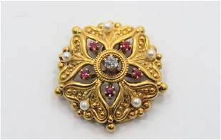 18K Gold Diamond and Ruby Pendant