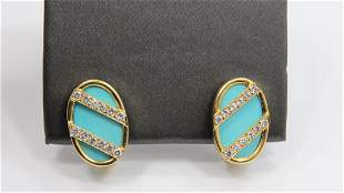 Gold - Turquoise and Diamond Earrings