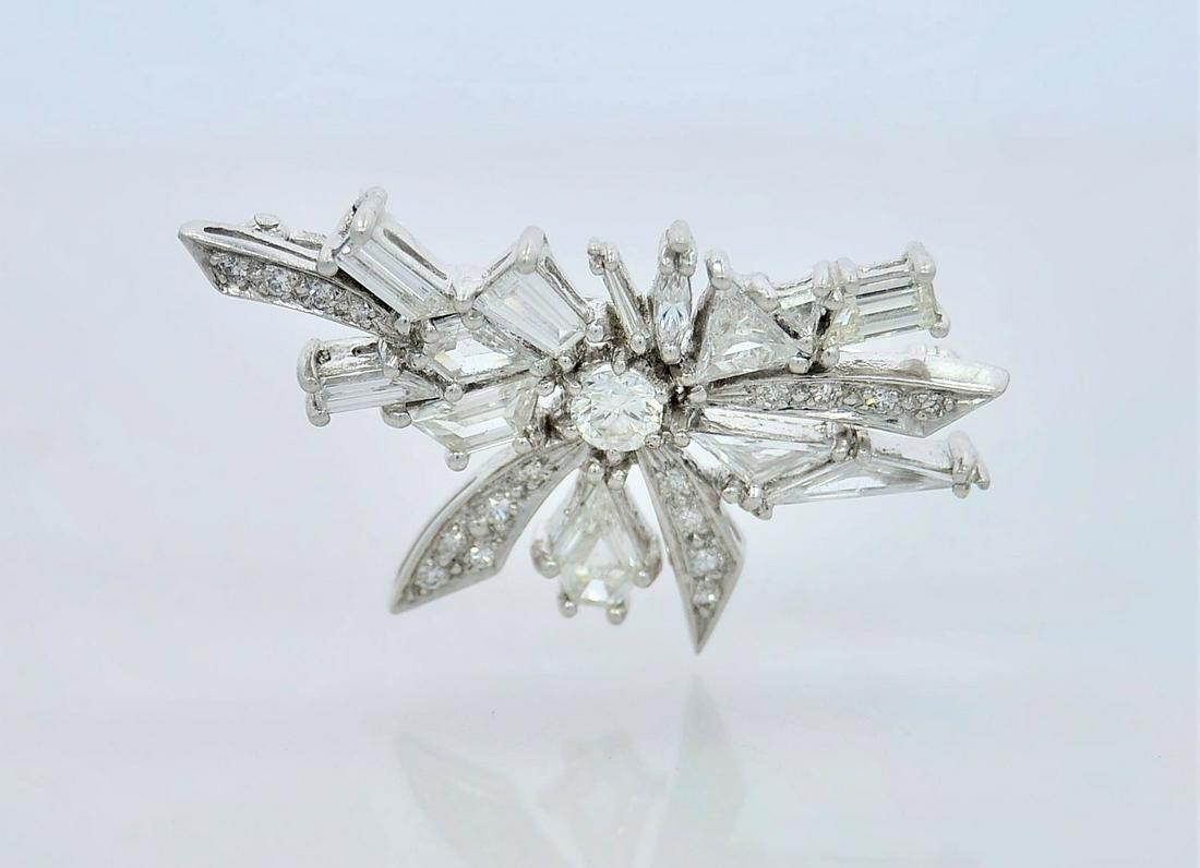 6.0 Carat Platinum Handmade Vintage Diamond Brooch