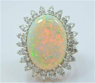 Gold Diamond and Large 14kt Fire Opal Ring