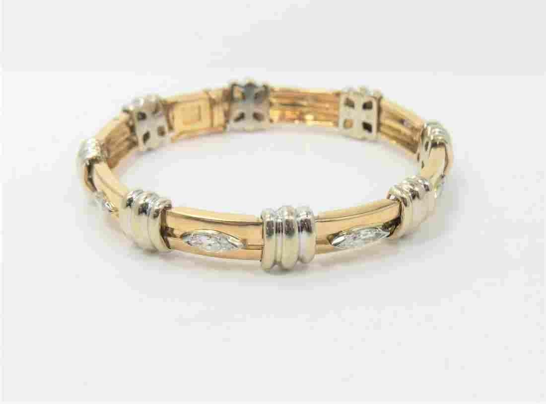 David Stern Signed 14kt Gold and Diamond Bracelet