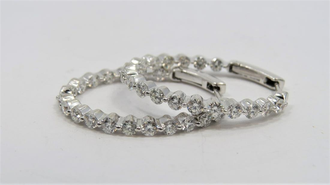 18K Inside Out Diamond Hoop Earrings -Modern