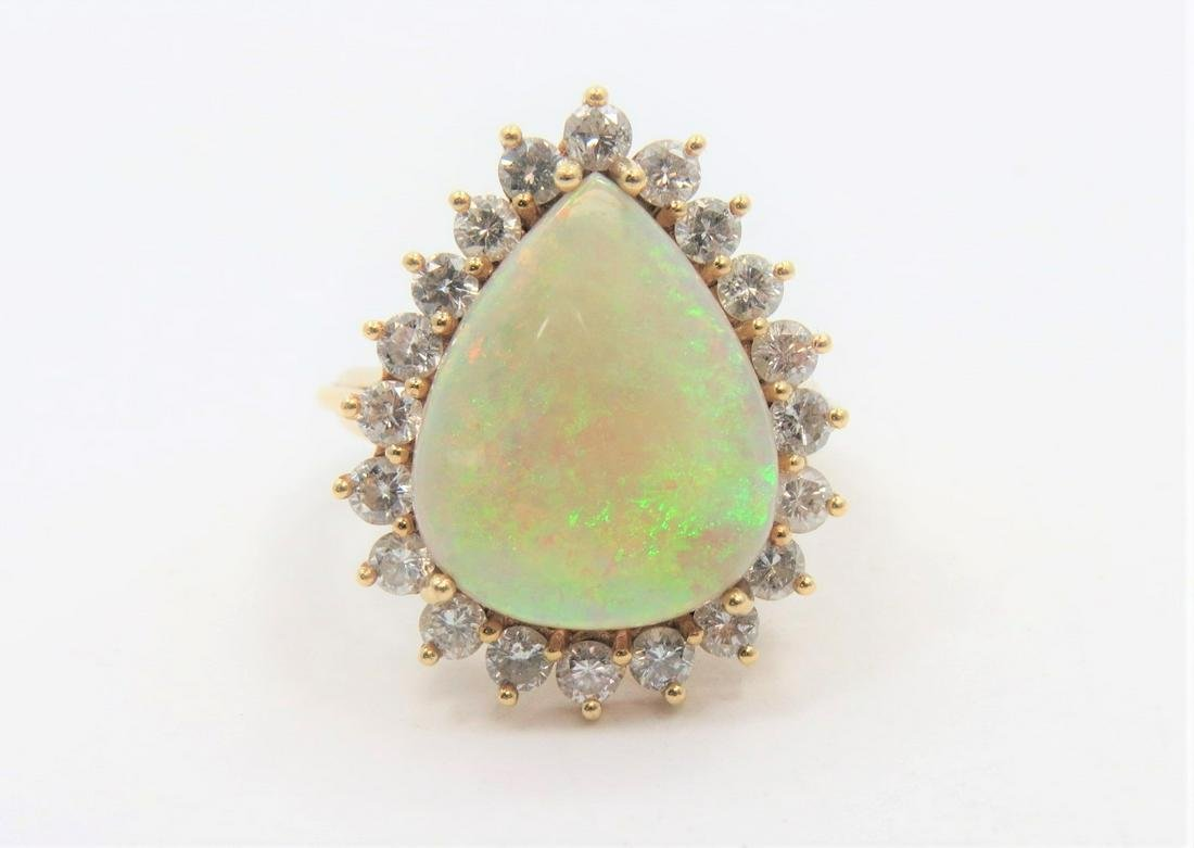 Large Opal and Diamond Ring