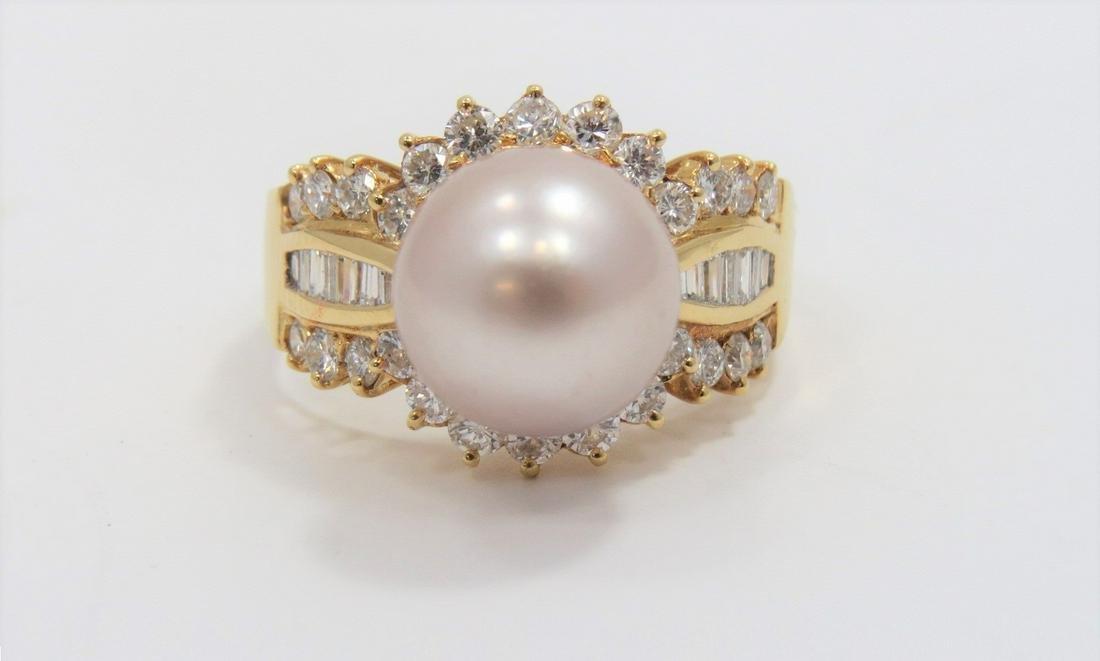 11MM Huge Tahitian Pearl and Diamond Ring