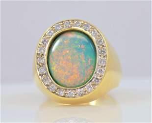 Lightning Ridge Opal and Diamond Heavy Mens Ring