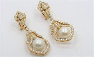 Tahitian Pearl and Diamond Formal Dangle Earrings