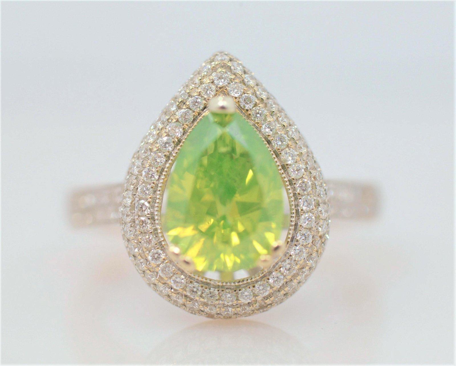 18k Fancy Green Diamond Engagement Ring