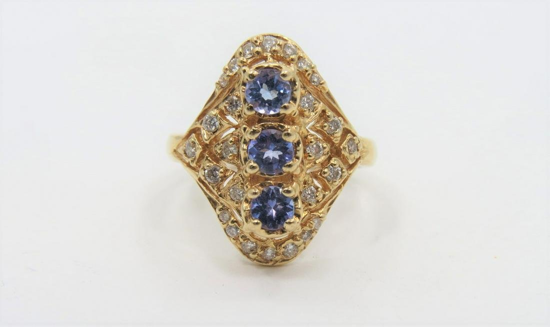 Designer Tanzanite and Diamond Ring