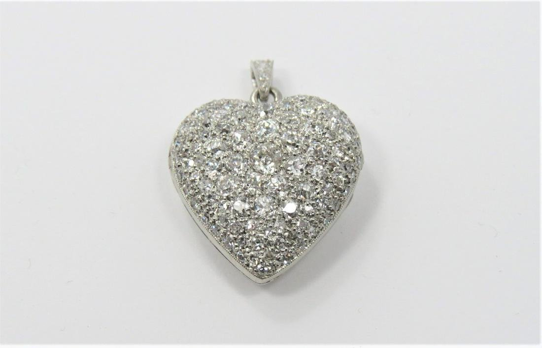 Platinum and Diamond Heart Locket