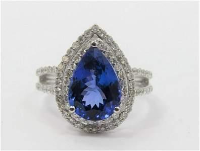Certified Platinum, Tanzanite and Diamond Ring