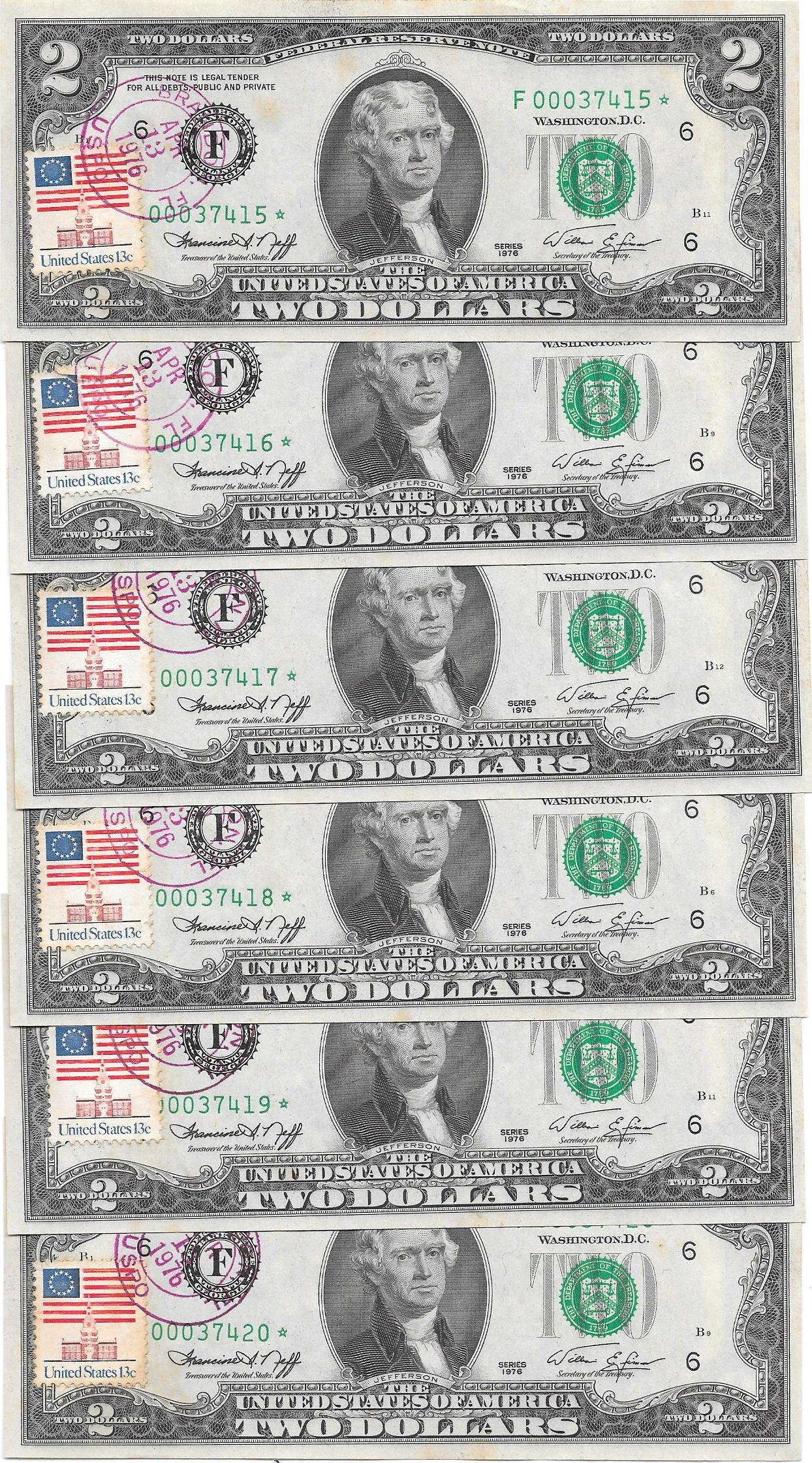 Six Consecutive 1976 1st Day Issue 2.00 Star Notes