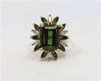 Green Tourmaline and Diamond Ring - Gem Tourmaline