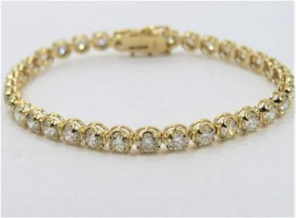 Certified 14K Yellow Gold 8 CT Diamond Bracelet
