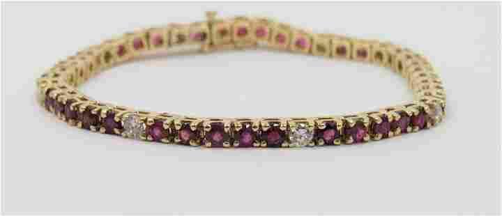 14K Gold Diamond and Ruby Bracelet Gem Quality