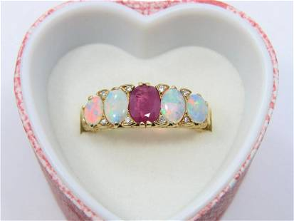 18K Yellow Gold Natural Ruby and Opal Ring