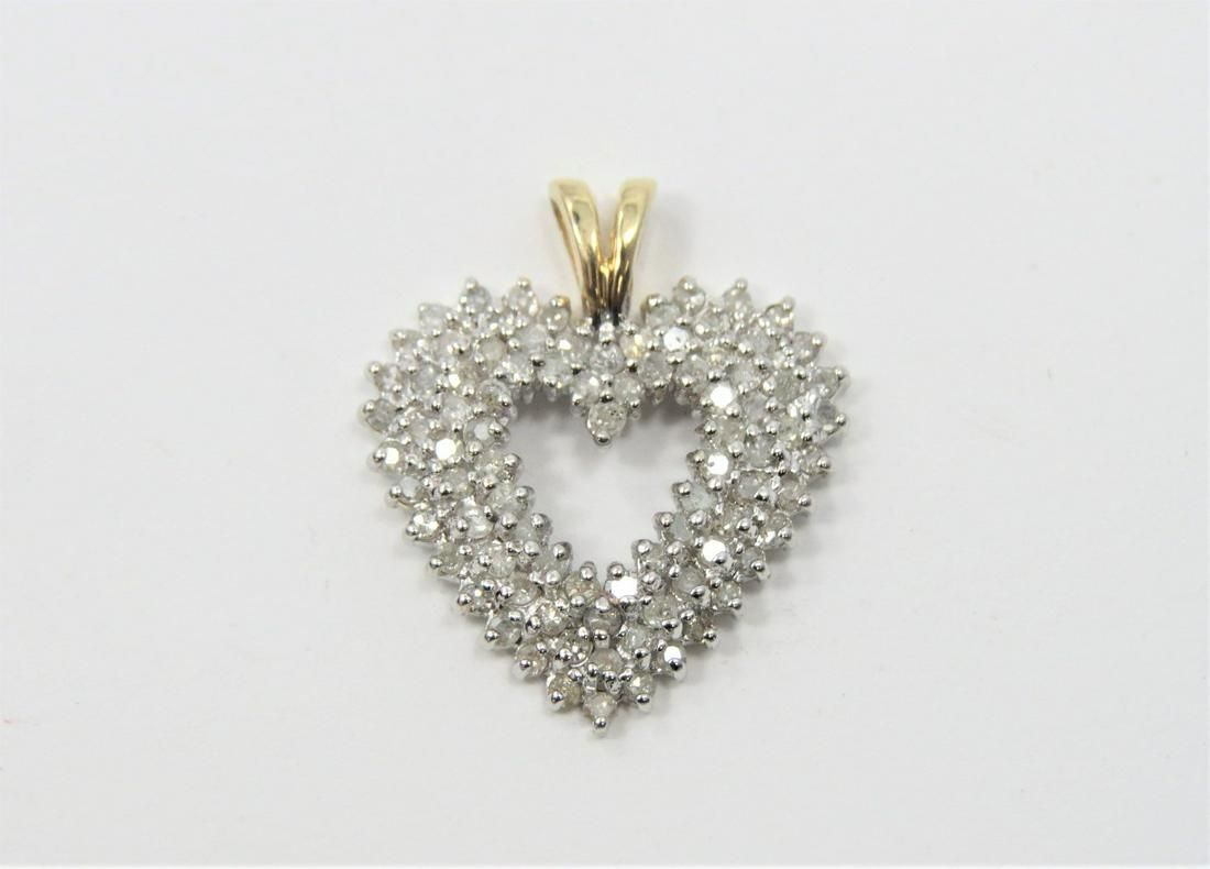 Lovely 14K Yellow Gold 1.5CT Diamond Heart Pendant