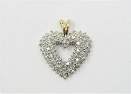 Lovely 14K Yellow Gold 15CT Diamond Heart Pendant