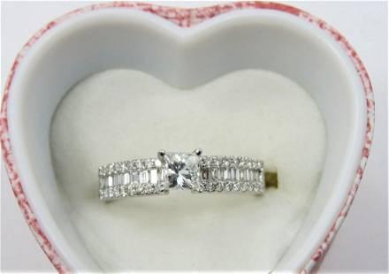 Certified 18K White Gold Princess Cut Diamond Ring