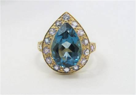 10K Yellow Gold 9 CT Topaz and Amethyst Ring