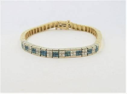 14K Yellow Gold Blue and White Diamond Bracelet