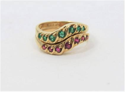 14K Yellow Gold Ruby and Emerald Ring Set