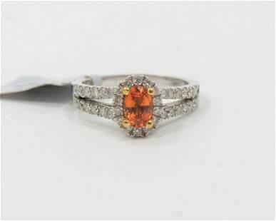 14K White Gold Orange Sapphire and Diamond Ring