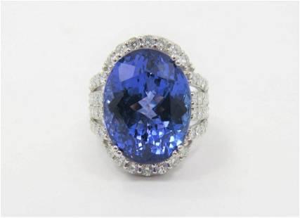 Certified Platinum Natural Tanzanite Diamond Ring
