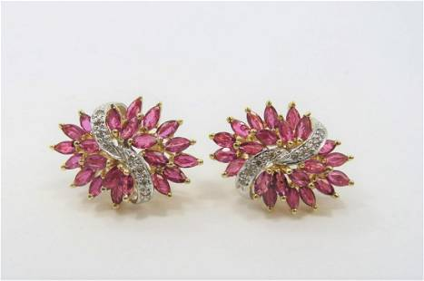 14K Two Tone Gold Ruby and Diamond Earrings