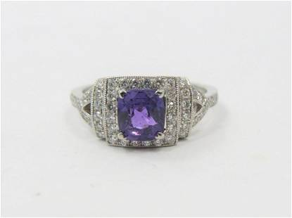 RARE Certified Color Change Sapphire Diamond Ring
