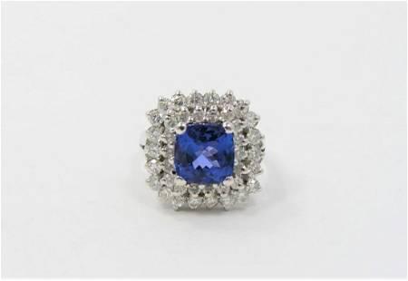 Certified 14K White Gold Diamond Tanzanite Ring