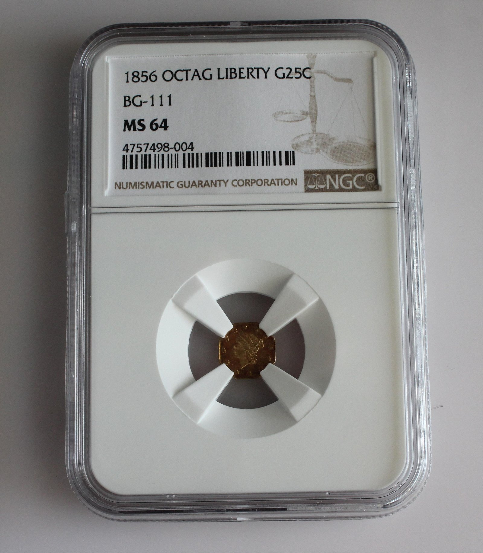 1856 OCTAGON LIBERTY GOLD QUARTER DOLLAR BG-111