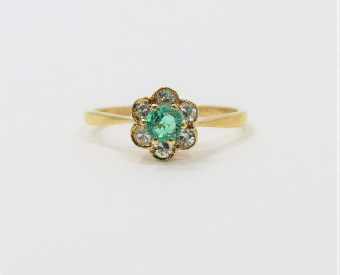 18K Yellow Gold Diamond and Emerald Flower Ring