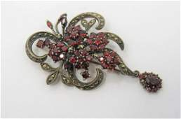 Sterling Silver Estate Garnet and Marcasite Brooch